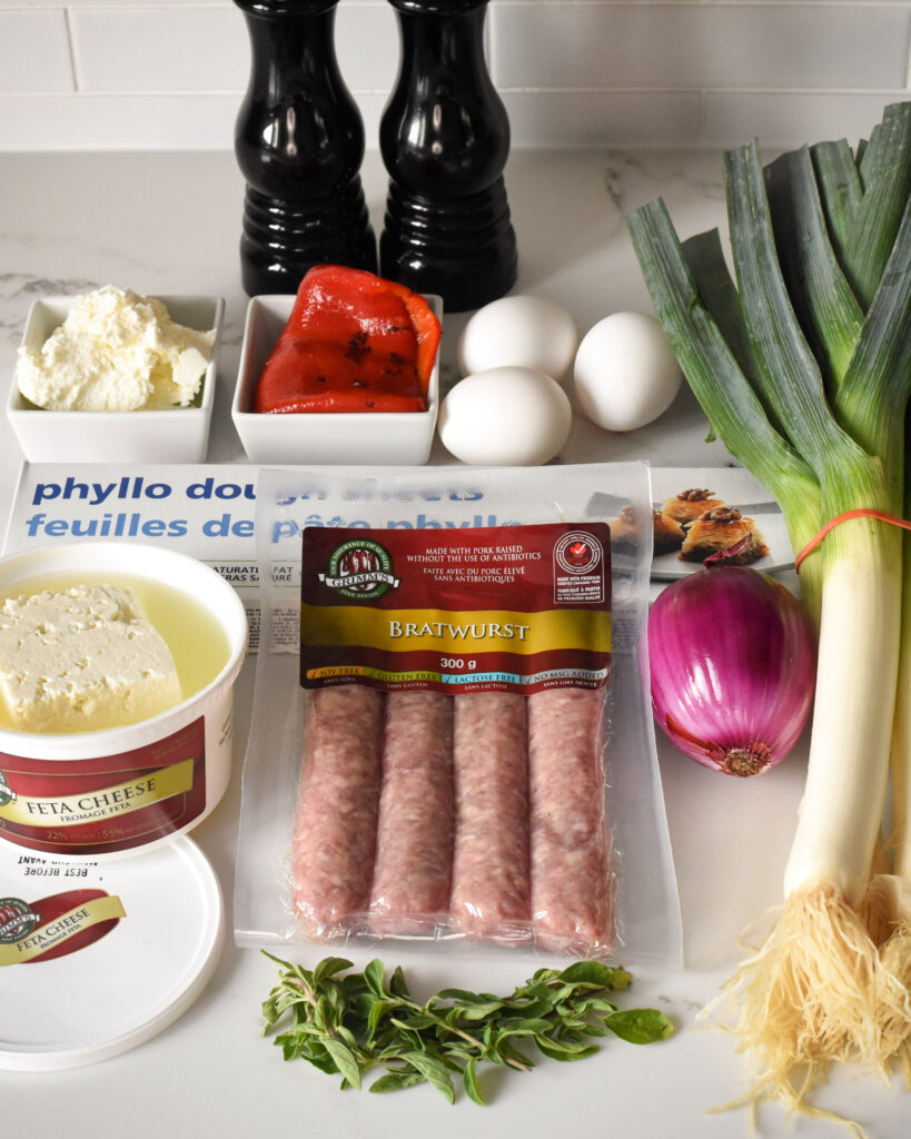 Bratwurst Sausage and Feta Phyllo Pie Ingredients