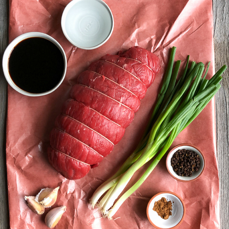 Raw ingredients used for a Sichuan marinade for a beef top sirloin roast.