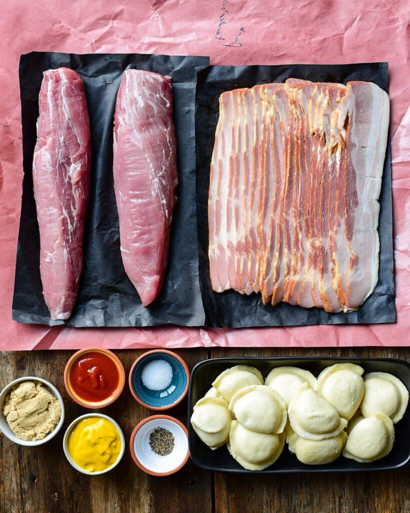 Ingredient shot for bacon wrapped pork tenderloin recipe.