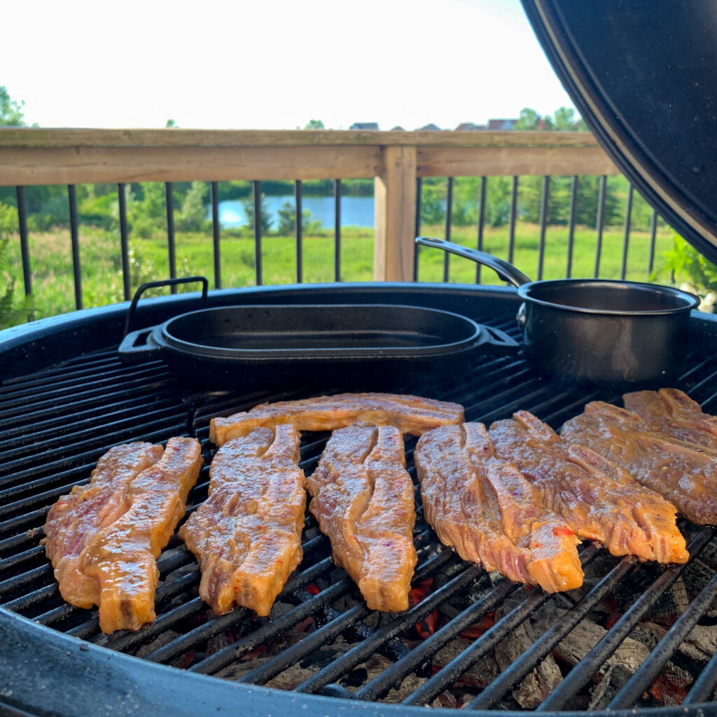 Korean-style beef short ribs placed on the bbq.