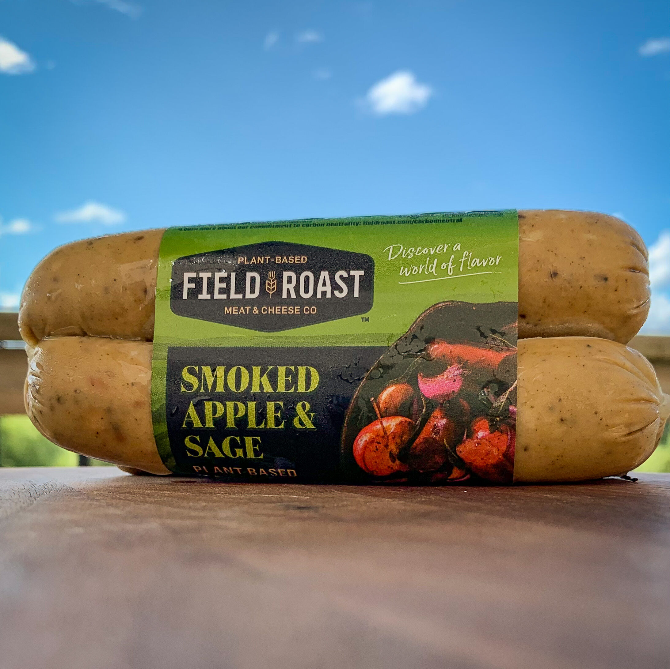 A close up image of a package of Field Roast Smoked apple and sage sausage.
