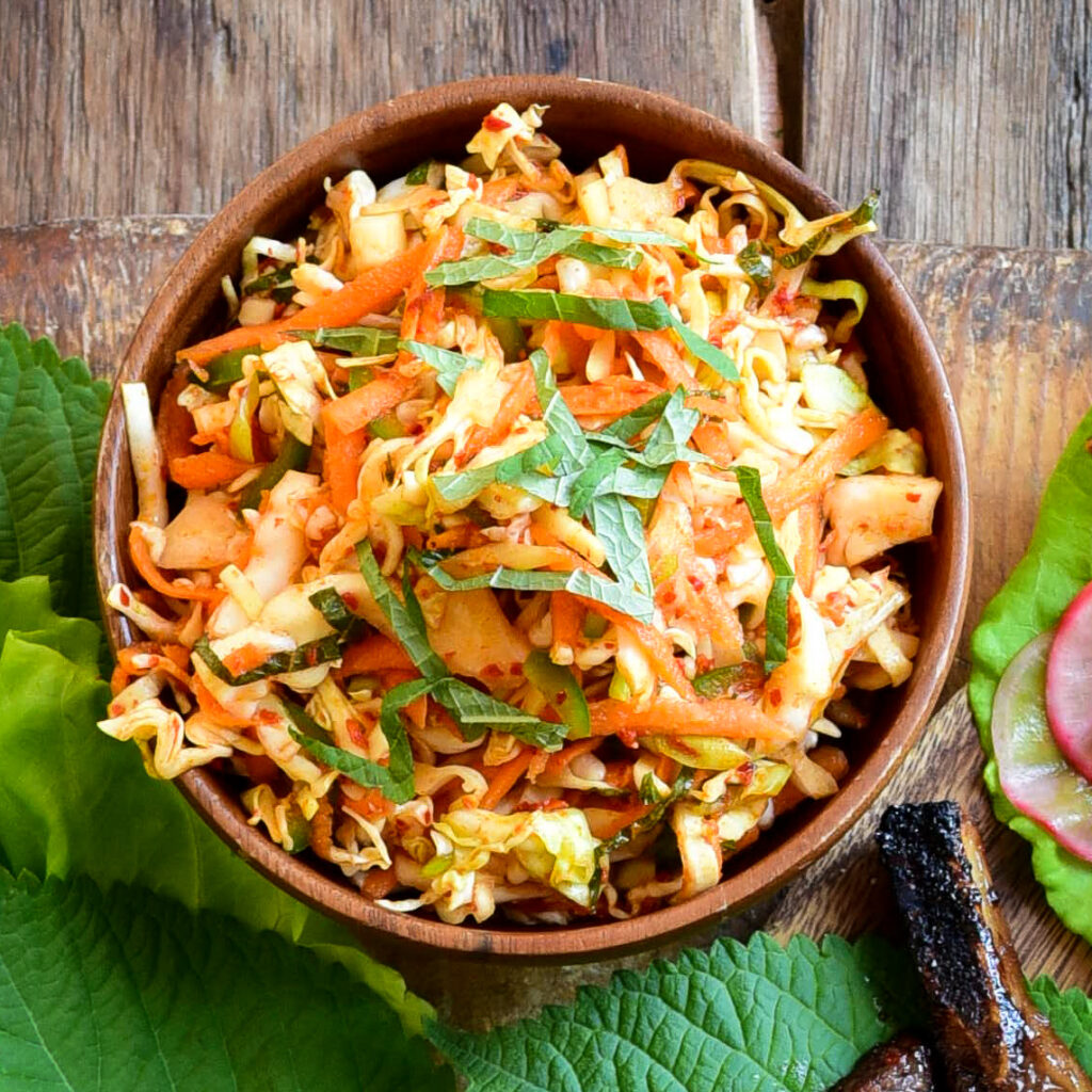 A top down image of a spicy Korean coleslaw.